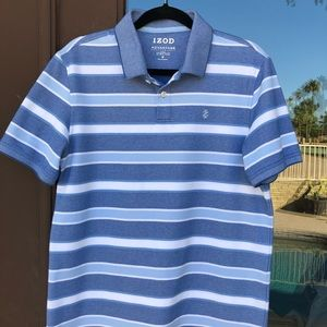 IZOD Advantage Performance Blue White Striped Polo